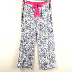 PINK White Satin Bow Flannel Pajama Bottoms Ruffle
